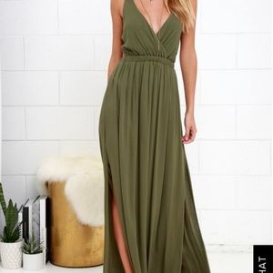 LULUS Olive Green Maxi Dress
